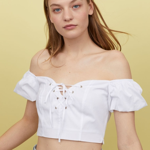 H&M Tops - H&M Off-the-Shoulder Laced Blouse